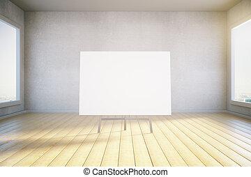 cartaz, sala, em branco