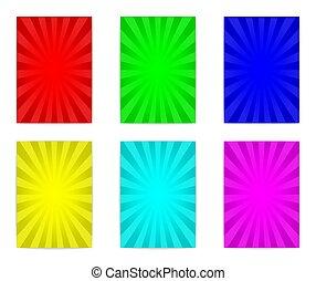 cartaz, seis, coloridos