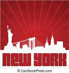 cartaz, silueta, york, novo