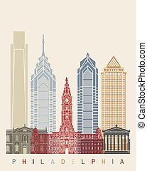 cartaz, skyline, filadélfia