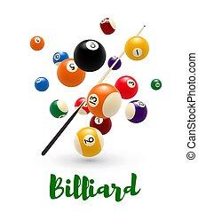 cartaz, sugestão, snooker, bilhar, desenho, bola, piscina