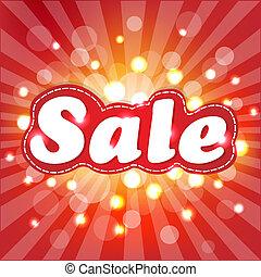 cartaz, sunburst, venda, vermelho