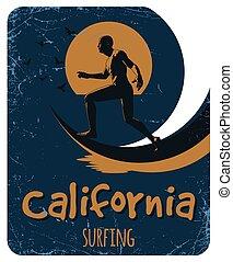 cartaz, surfando, califórnia