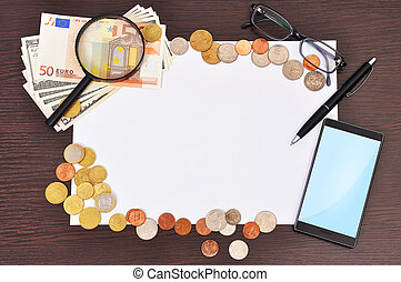 cartaz, telefone, e, dinheiro