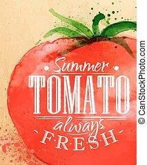 cartaz, tomate
