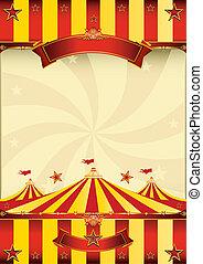 cartaz, topo, circo, amarelo vermelho