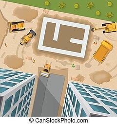 cartaz, topo, construção, vista