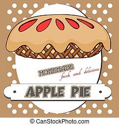 cartaz, torta maçã