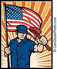 cartaz, trabalhador, com, bandeira eua