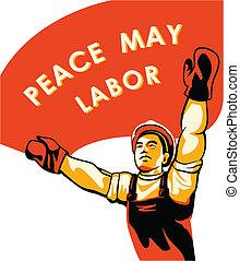 cartaz, trabalhadores, dia