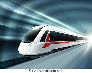 cartaz, trem, realístico, estação, estrada ferro, velocidade