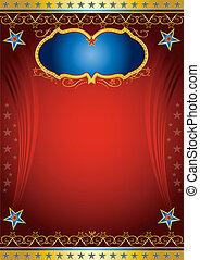 cartaz, vermelho, entretenimento