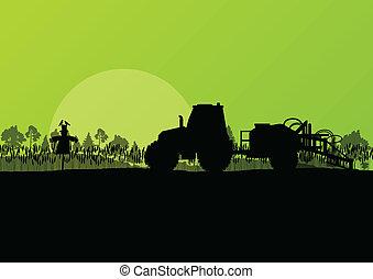 cartaz, vetorial, agricultura, trator, fundo