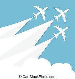 cartaz, vetorial, aviões