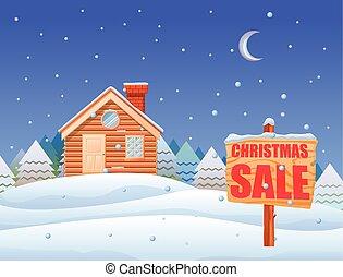 cartaz, vetorial, christma, paisagem, venda