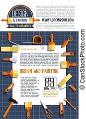 cartaz, vetorial, desenho, quadro, casa