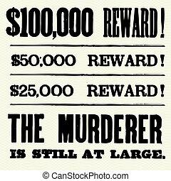 cartaz, vetorial, tipo, recompensa