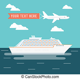 cartaz, viagem, avião, desenho, navio cruzeiro