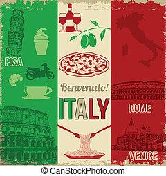 cartaz, viagem, itália