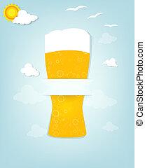 cartaz, vidro cerveja, criativo
