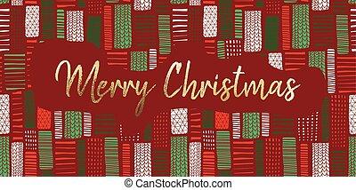 cartazes, blocos, illustration., cartão ouro, decoração, retângulo, mão, experiência., folha, vetorial, verde, blog, feliz, desenhado, partido, convite, feriado, natal, vermelho, dezembro