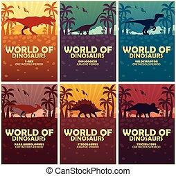 cartazes, cobrança, mundo, de, dinosaurs., pré-histórico,...