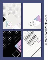 cartazes, com, abstratos, formulários, geomã©´ricas, estilo, 80's, memphis., retro-art, para, coberturas, bandeiras, voadores, e, cartazes