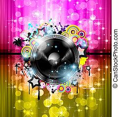 cartazes, fundo, elements., clube, discoteca, internacional, dança, ideal, desenho, anunciando, lote, voadores, música, evento, panels.