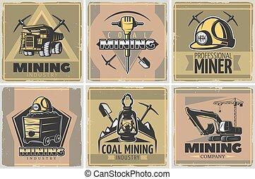 cartazes, mineração, jogo, indústria