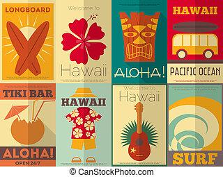 cartazes, retro, cobrança, havaí