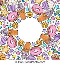 carte, à, divers, bonbons