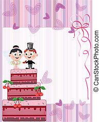 carte, à, mariage, tarte
