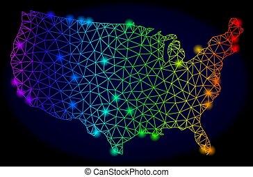 carte, éclat, réseau, usa, spectre, taches, polygonal, vecteur, coloré, maille