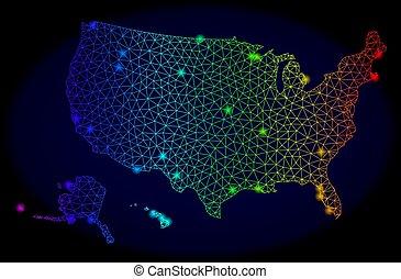 carte, éclat, usa, polygonal, spectre, taches, 2d, territoires, clair, vecteur, maille