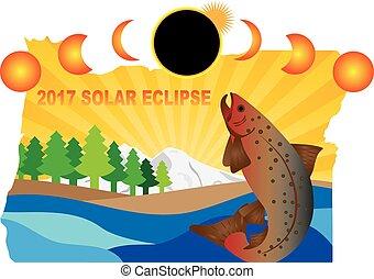 carte, éclipse, illustration, orégon, solaire, 2017, travers