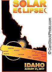 carte, éclipse, illustration, solaire, 2017, villes, travers, idaho