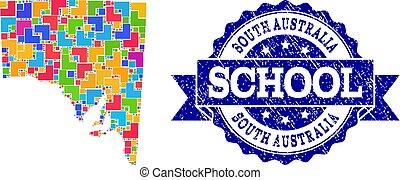 carte, école, australie, timbre, sud, textured, composition, mosaïque