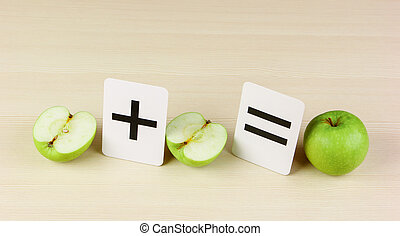 carte, école, problèmes, pomme, math