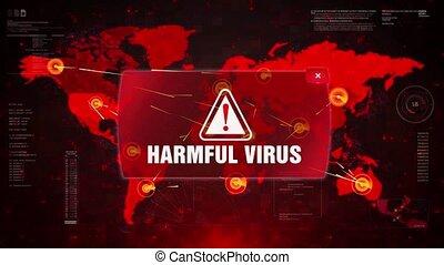 carte, écran, motion., virus, alerte, nuisible, attaque, avertissement, mondiale, boucle