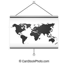 carte, écran, projecteur