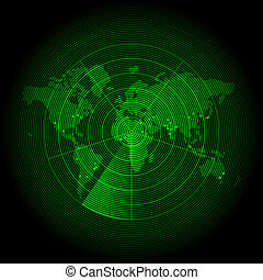 carte, écran, vert, mondiale, radar