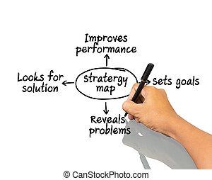 carte, écriture, main, stratégie