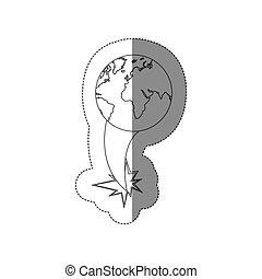 carte, éjection, silhouette, continents, autocollant, voler, la terre, mondiale