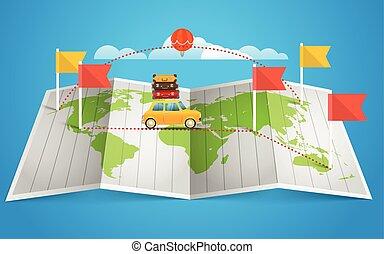 carte, éléments, drapeau, conception, vehicle., mondiale, rouges