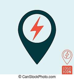 carte, électrique, épingle, voiture, station, charger, icône