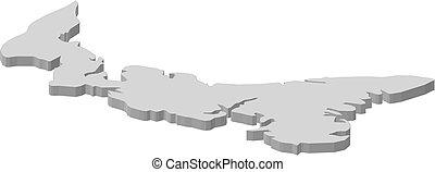 carte, île, -, edward, 3d-illustration, (canada), prince