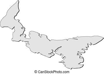 carte, île, -, edward, (canada), prince