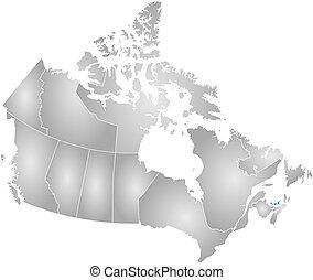 carte, île, -, edward, canada, prince