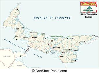 carte, île, edward, drapeau, vecteur, prince, route
