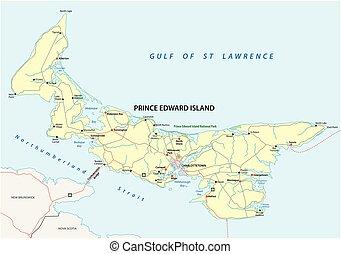 carte, île, edward, vecteur, prince, route